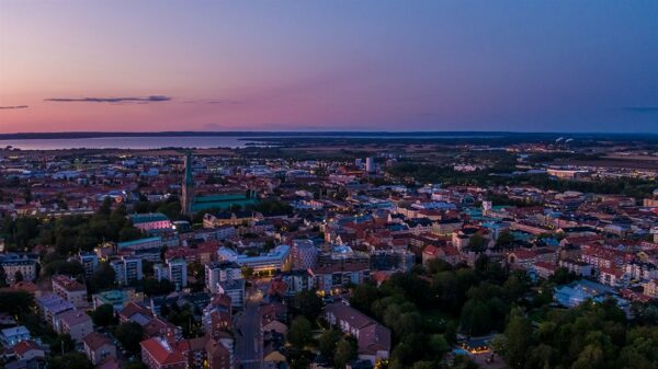 Drönarbild över linköping